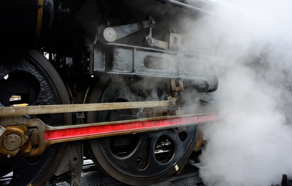 Picture smoke, rails, the engine, Train