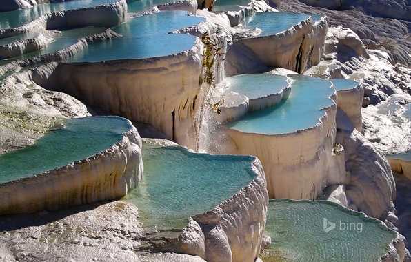 Picture Turkey, Pamukkale, geothermal, travertine, ponds-terraces