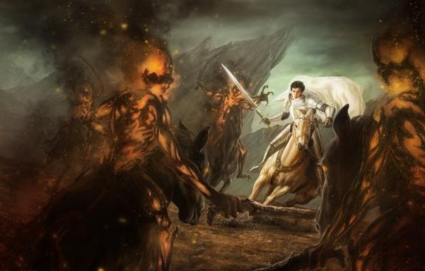 Picture white, horse, sword, warrior, art, monsters, rider, battle, cloak