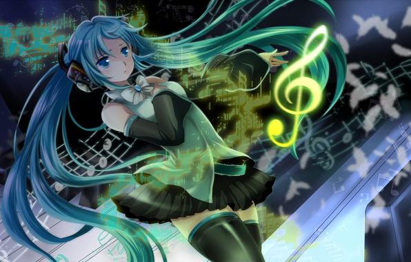Picture girl, notes, feathers, headphones, art, vocaloid, hatsune miku, bow, treble clef, Vocaloid, mariwai, marireroy