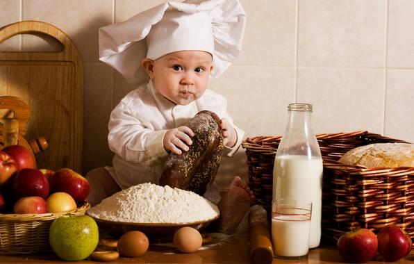 Picture apples, eggs, baby, milk, bread, kitchen, cook, fruit, vegetables, Baby, child, cap, boy, cap, eggs, …
