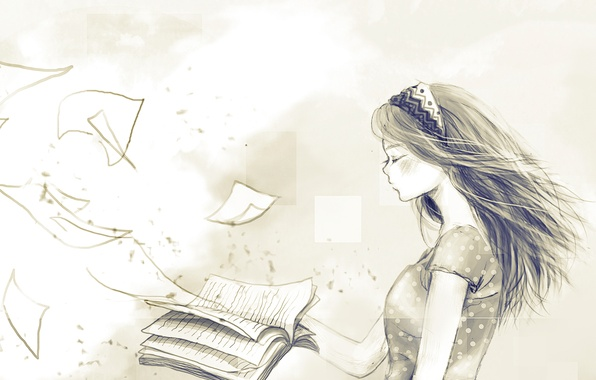 Picture girl, the wind, book, page