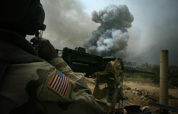 Picture the explosion, machine gun, shootout, usa, the convoy, Iraq