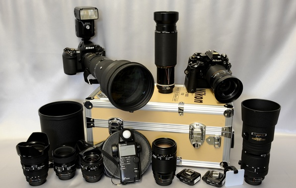 "Picture background, flash, cameras, lenses, hard case for hardware, ""Nikon"", the meter"