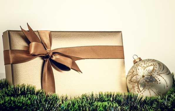 Picture the rain, white, green, box, gift, ball, New Year, Christmas, tape, the scenery, tinsel, bow, …
