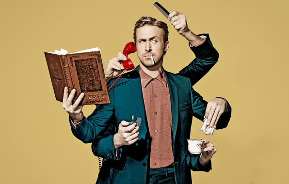 Picture background, humor, hands, lighter, cigarette, photographer, costume, Cup, actor, book, phone, photoshoot, Ryan Gosling, Ryan …