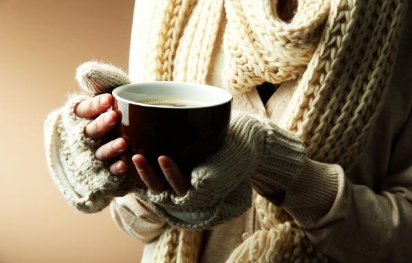 Picture winter, girl, heat, background, Wallpaper, mood, hands, scarf, mug, Cup, wallpaper, widescreen, background, full screen, …