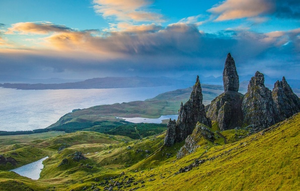 Picture rocks, valley, Scotland, panorama, lake, Scotland, Isle of Skye, Isle of Skye, Old Man of …