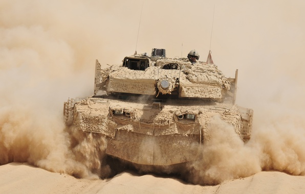 Picture dust, tank, combat, rides, Afghanistan, German, main, Leopard 2A5 DK, VS Denmark, desert camouflage SAAB …