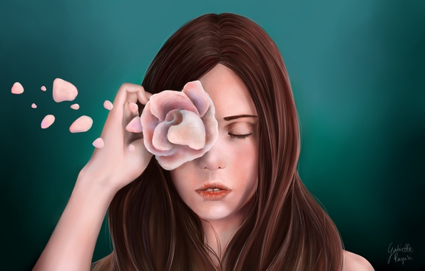 Picture flower, girl, face, green, background, hair, rose, hand, petals, art, painting, closed eyes, Gabrielle Ragusi
