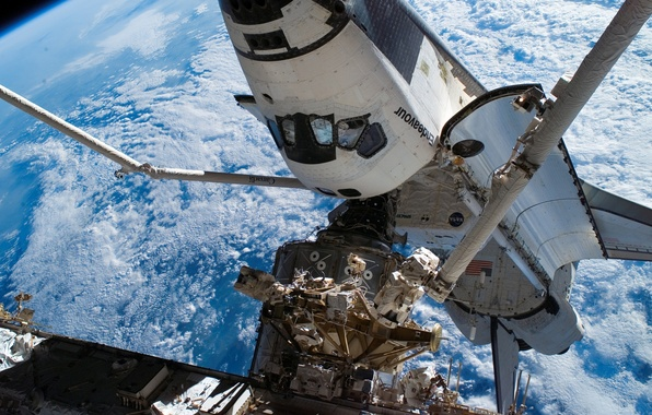 Picture Space, Earth, ISS, blue planet, space Shuttle Endeavour