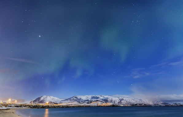 Picture winter, stars, lake, the evening, hoary