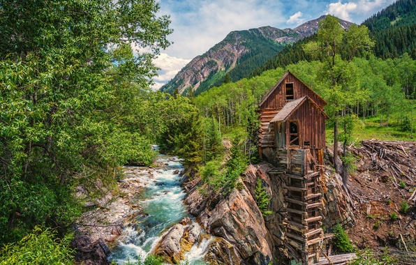Picture forest, trees, mountains, river, Colorado, water mill, Colorado, Crystal, Crystal Mill, Crystal River, Crystal
