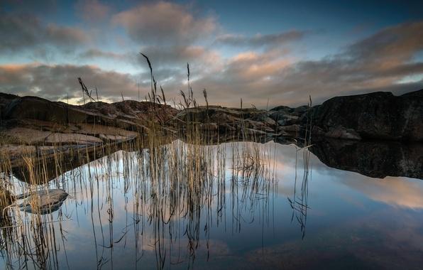 Photo wallpaper lake, mountains, landscape