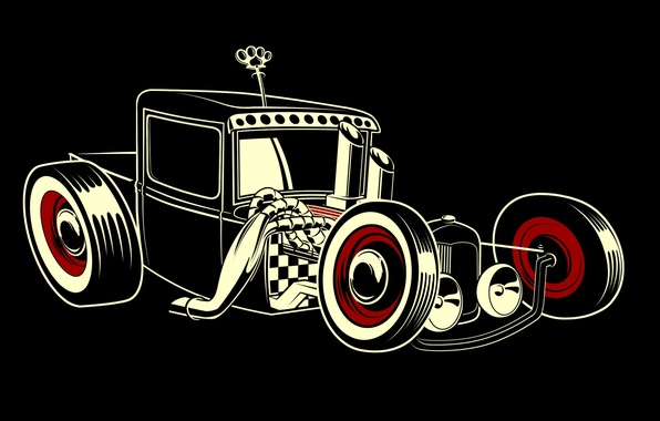 Picture style, black background, hot rod
