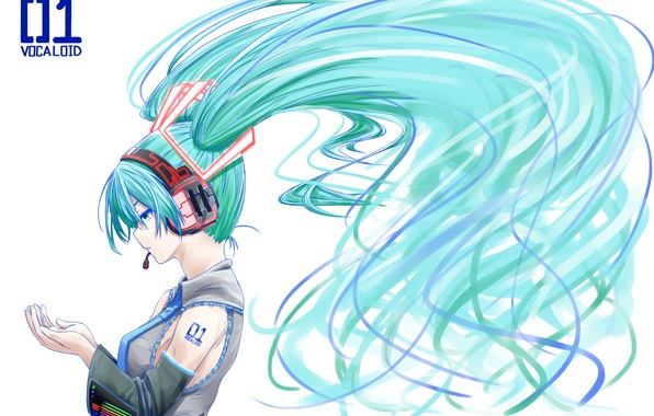 Picture girl, anime, headphones, art, tie, profile, microphone, vocaloid, hatsune miku, Vocaloid, omaru09