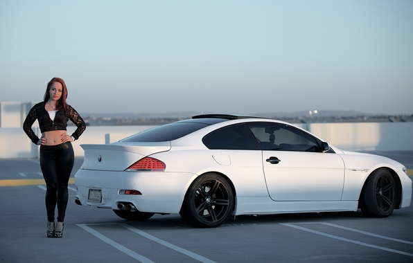 Picture roof, white, the sky, girl, black, bmw, BMW, Parking, girl, drives, e63, black wheels