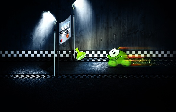 Picture green, small, monster, Formula 1, Cup, character, Formula 1, Cut the Rope, minimalism., Amateur, part, …