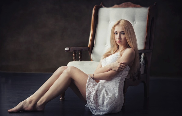 Picture girl, pose, portrait, chair, blonde, white, legs, sexy, beautiful, the beauty, studio, blue-eyed, beautiful, cute, …