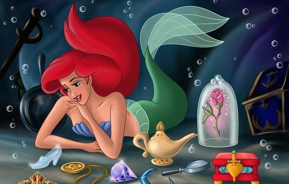 Picture castle, cartoon, mermaid, tale, chest, treasures, underwater world, Princess, sea, Ariel, Ariel, flowers, sword, castle, …