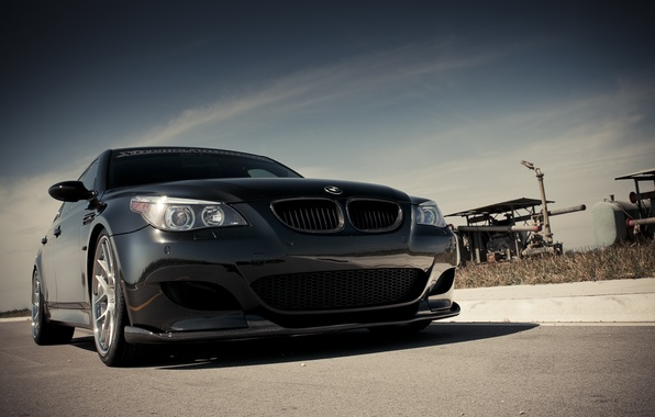 Picture the sky, clouds, black, BMW, BMW, black, the front part, E60
