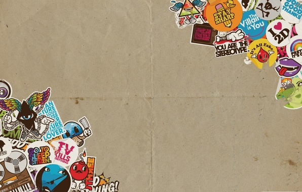 Picture paper, labels, cardboard, stickers, logos