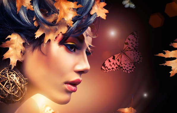Picture leaves, girl, abstraction, face, butterfly, makeup, profile