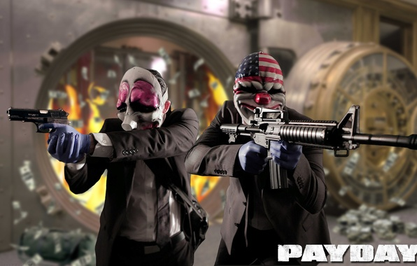Picture weapons, the bandits, robbery, Payday 2, Overkill Software, AMCAR, 505 Games
