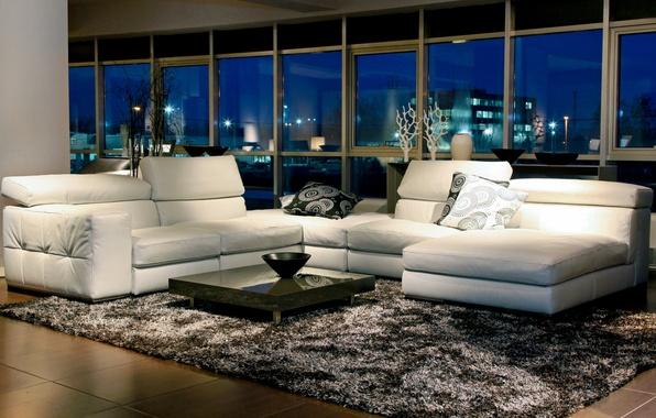 Picture white, night, design, style, room, sofa, carpet, furniture, Windows, interior, pillow