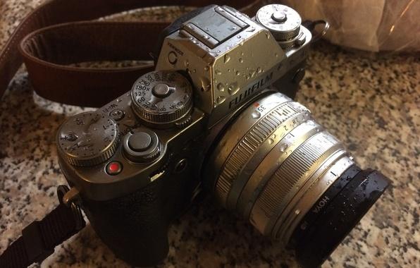 Picture camera, drops, lens, Fujifilm, camera strap