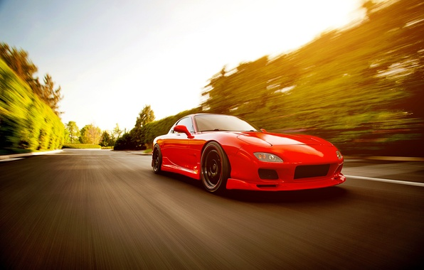 Picture speed, blur, red, Mazda, Blik, red, Mazda, RX-7