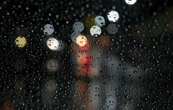 Picture glass, water, drops, macro, rain, bokeh