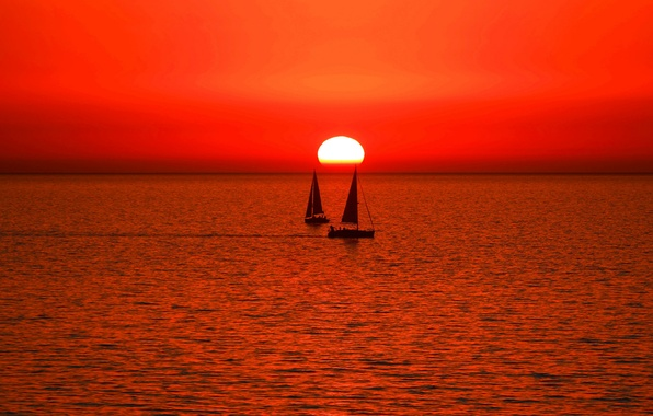 Picture sea, the sky, the sun, sunset, boat, yacht, sail