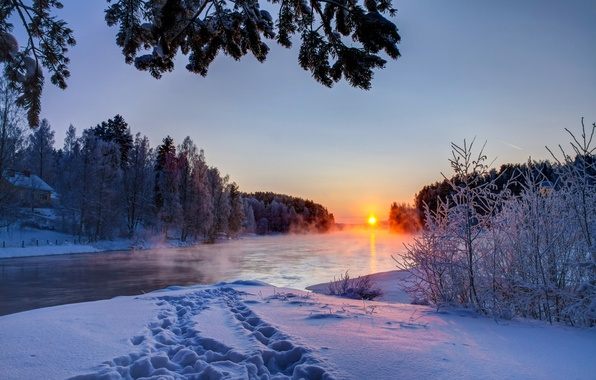 Picture winter, the sky, clouds, snow, landscape, sunset, nature, river, white, white, river, sky, landscape, nature, …
