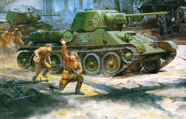 Picture figure, USSR, soldiers, the second world war, The red army, medium tank, The ANC, T-34/76