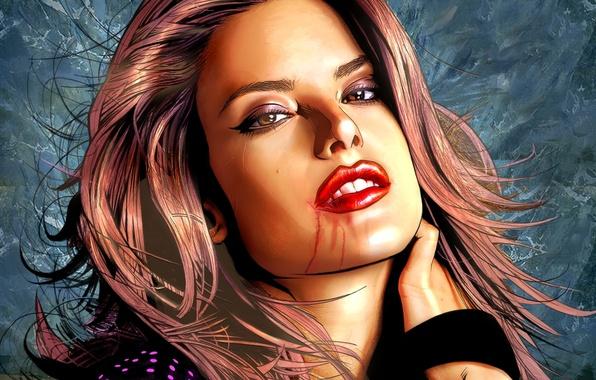 Picture eyes, face, hair, lips, scratches, Alessandra Ambrosio, Alessandra Ambrosio, devuschka, kasotka