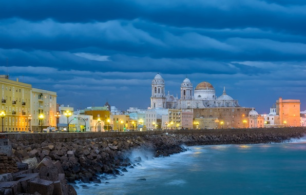 Picture clouds, building, Cathedral, Spain, promenade, Spain, Andalusia, Andalusia, Cadiz, Cadiz Bay, Cadiz, Gulf of Cadiz