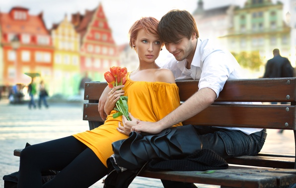Picture look, girl, flowers, bench, the city, people, home, dress, pair, tulips, red, guy