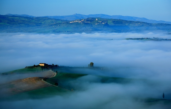 Picture the sky, mountains, fog, hills, morning, Italy, Tuscany