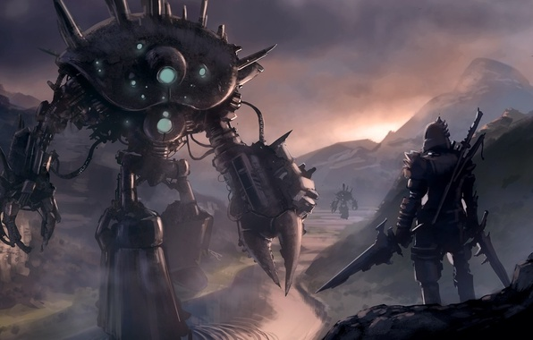 Picture river, weapons, rocks, sword, robots, warrior, art, knight, armor, Loyvet Stone