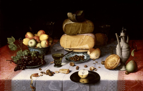 Picture food, picture, grapes, pitcher, Floris Claes van Dijk, Apple fruits, Still life with Cheese