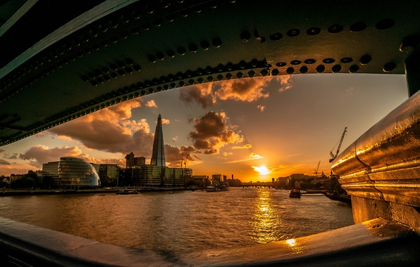 Picture the sun, sunset, bridge, river, London