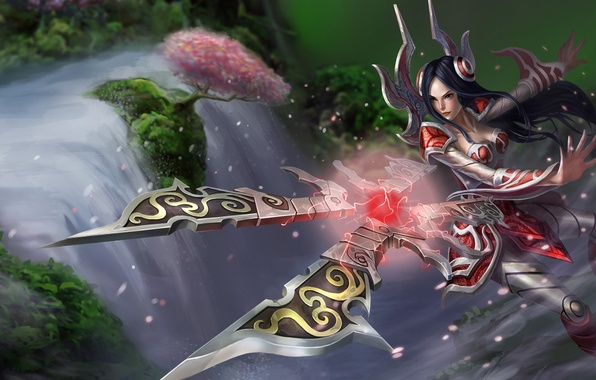 Picture girl, squirt, weapons, tree, waterfall, league of legends, irelia