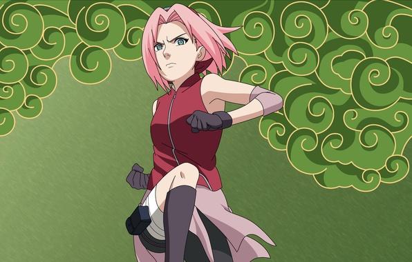 Picture jump, Sakura, gloves, naruto, headband, Naruto, Sakura, fists, pink hair, Haruno