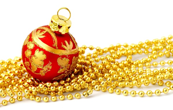 Picture red, holiday, pattern, new year, ball, Christmas, ball, white background, beads, christmas, new year, gold, …