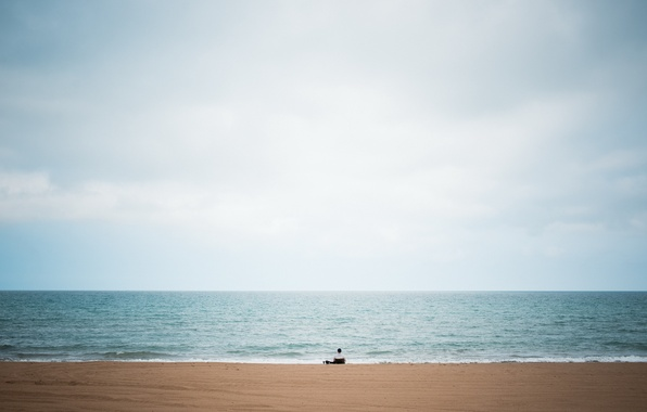 Picture beach, sky, big, blue, lake, alone, man, solitude