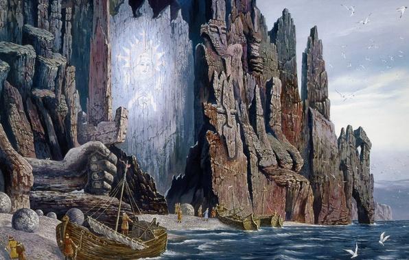 Picture sea, rock, open, seagulls, boats, sail, painting, Vsevolod Ivanov, Russian folklore, Slavic painting, Vision Pomors …