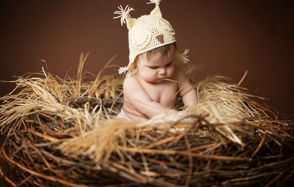 Picture children, owl, hat, baby, socket, ears, child, cap, Anna Levankova
