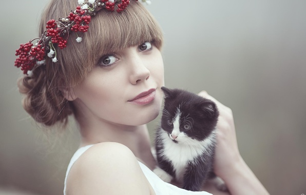 Picture eyes, look, girl, face, kitty, girl, brown hair, wreath, model, Photograph, Cezary