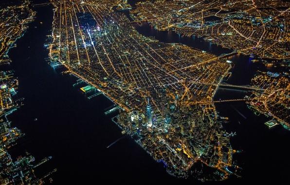 Picture lights, USA, United States, night, New York, Manhattan, NYC, New York City, island, evening, architecture, …